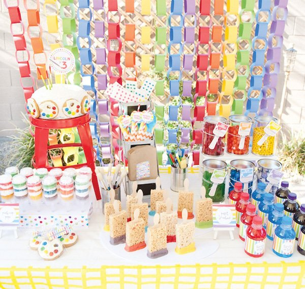 rainbow paint party sweets table