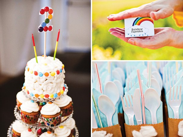rainbow birthday party cupcakes