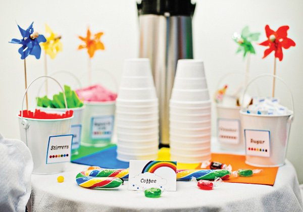 rainbow pinwheel coffee labels