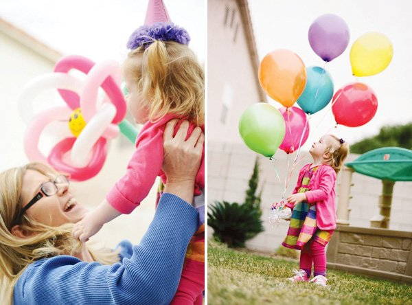 pinwheel party theme with rainbow balloons