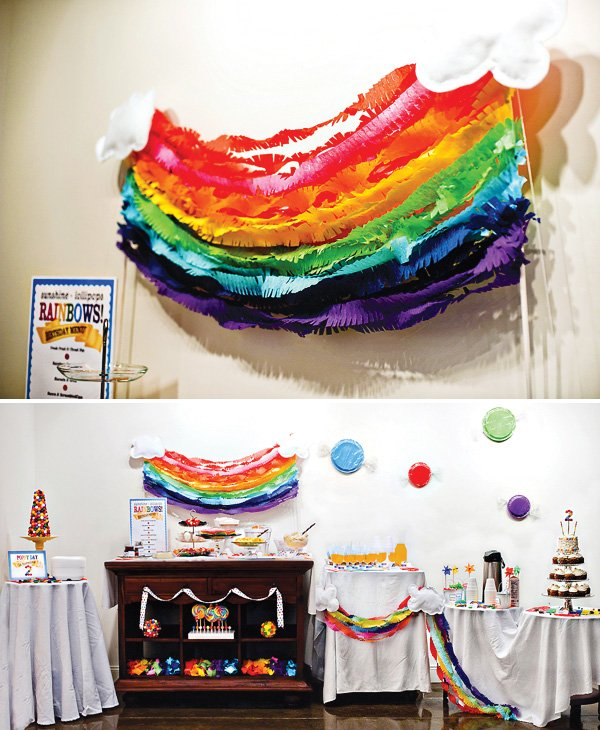 rainbow crepe paper streamer backdrop