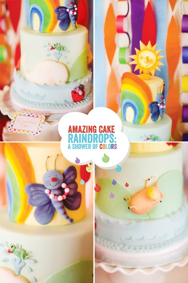 raindrop rainbow cake