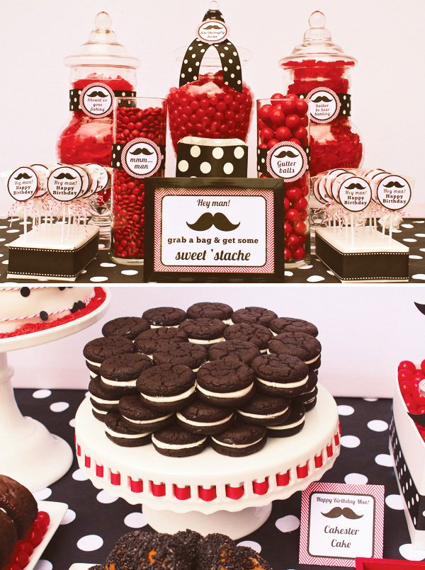 oreo cakester cake and red white black candy buffet