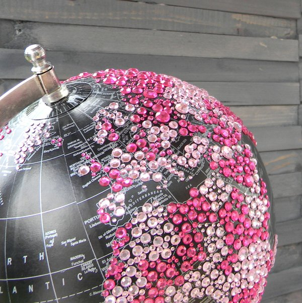 rhinestone globe decoration for a safari baby shower