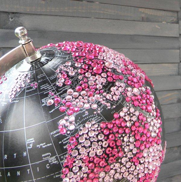 rhinestone globe decoration for a safari baby shower