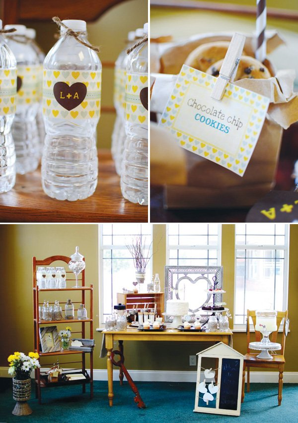 a rustic couples shower with a dessert table decorated in yellow and aqua