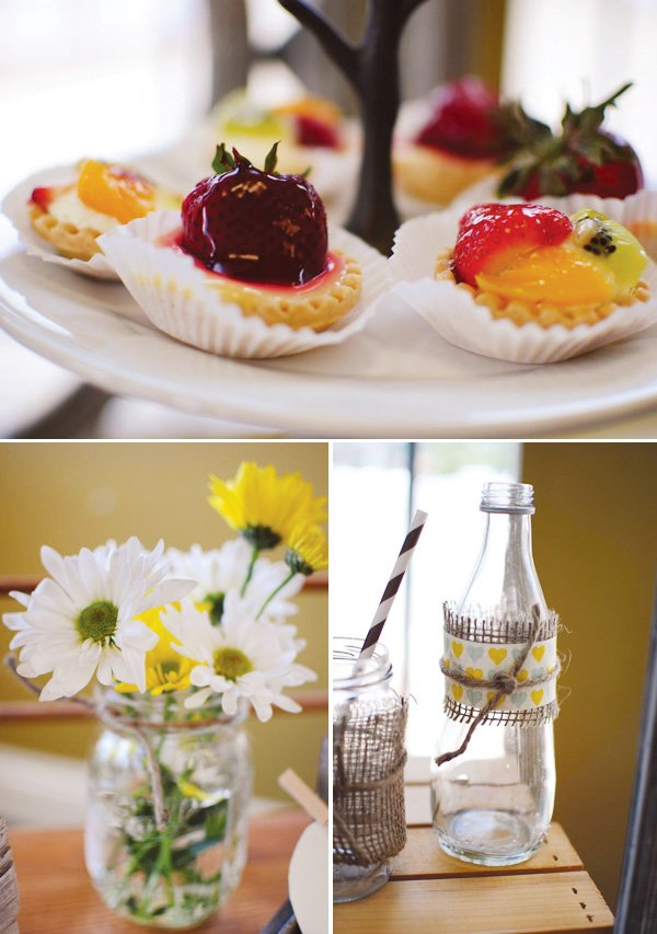 daisies and fruit tarts at a rustic couples shower