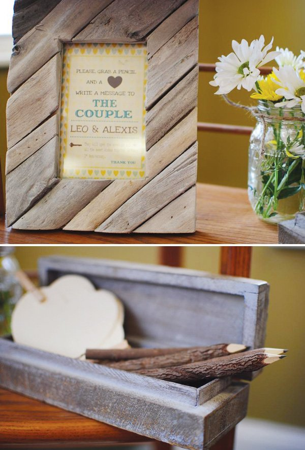 rustic couple shower with wooden pencils