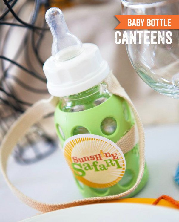sunshine safari baby shower - baby bottle canteen