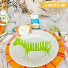 sunshine safari baby shower place setting