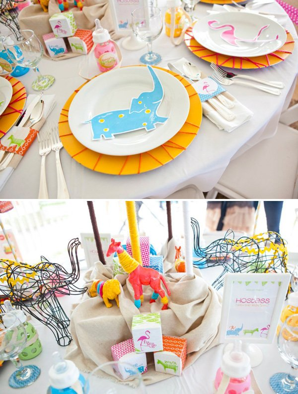 sunshine safari baby shower place settings and tablescape design