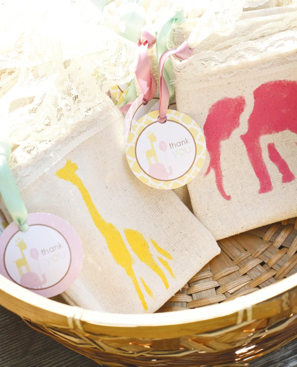 safari canvas tote bags with yellow giraffes and pink elephants