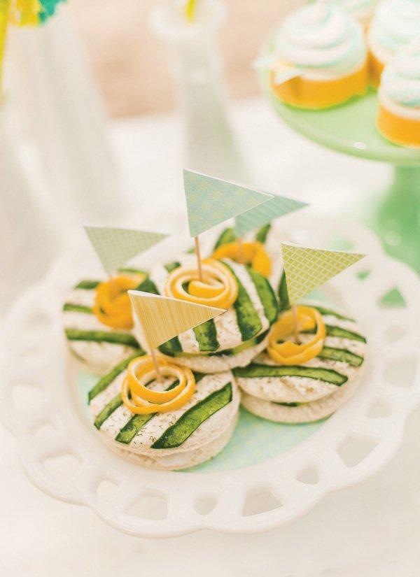 gender neutral baby shower cucumber sandwiches