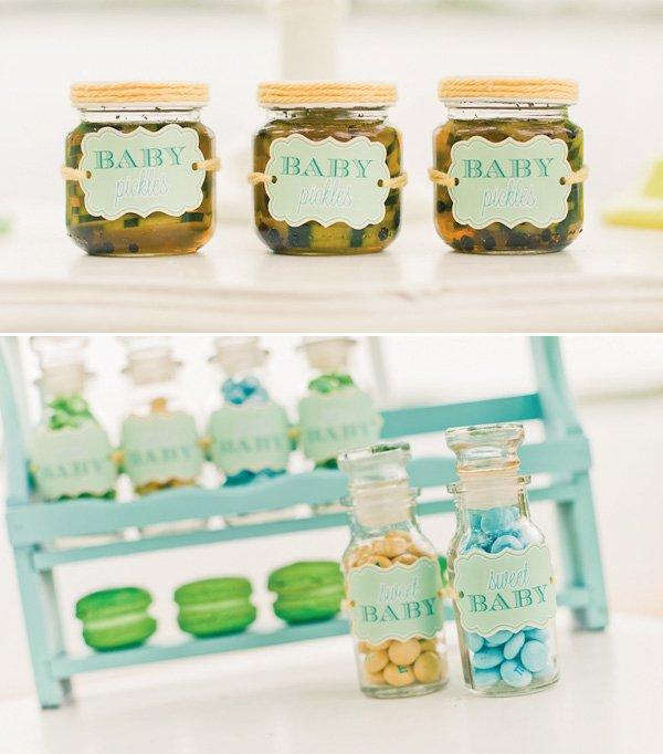 gender neutral baby shower pickle favors