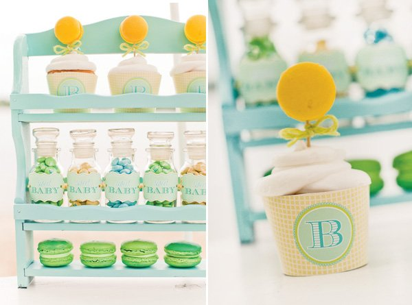 gender neutral baby shower sweets in a spice rack
