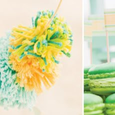 gender neutral baby shower yarn pom poms