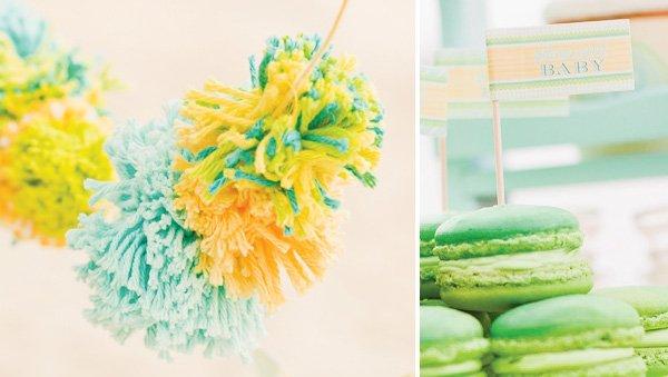gender neutral baby shower yarn pom poms
