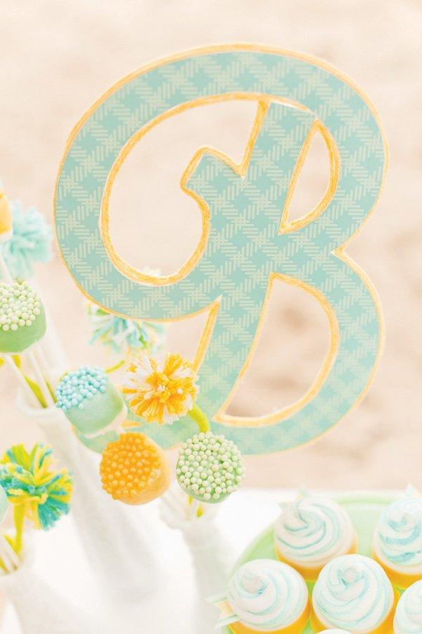 gender neutral baby shower yarn initial