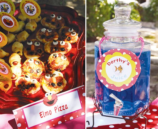 sesame street party pizza and juice