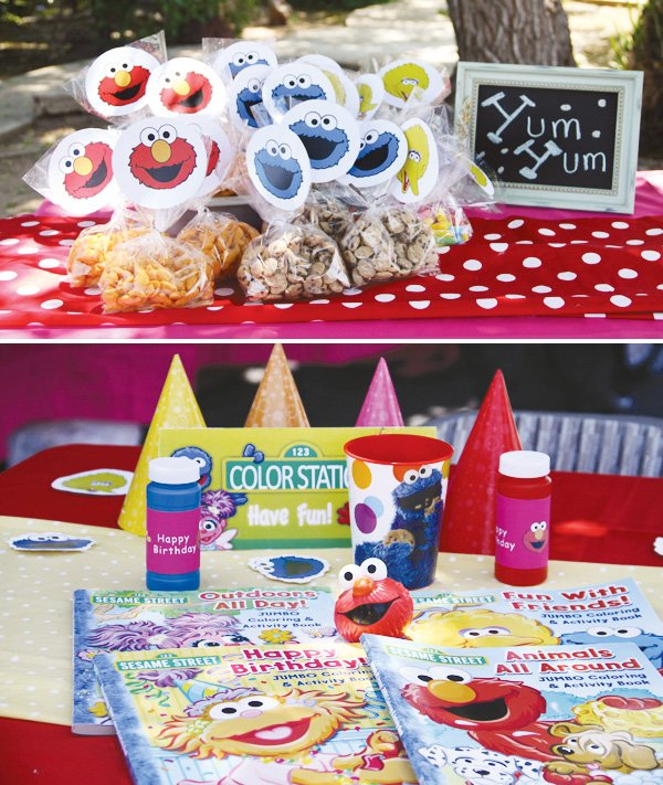 sesame street coloring activity and red polka dot covered tables