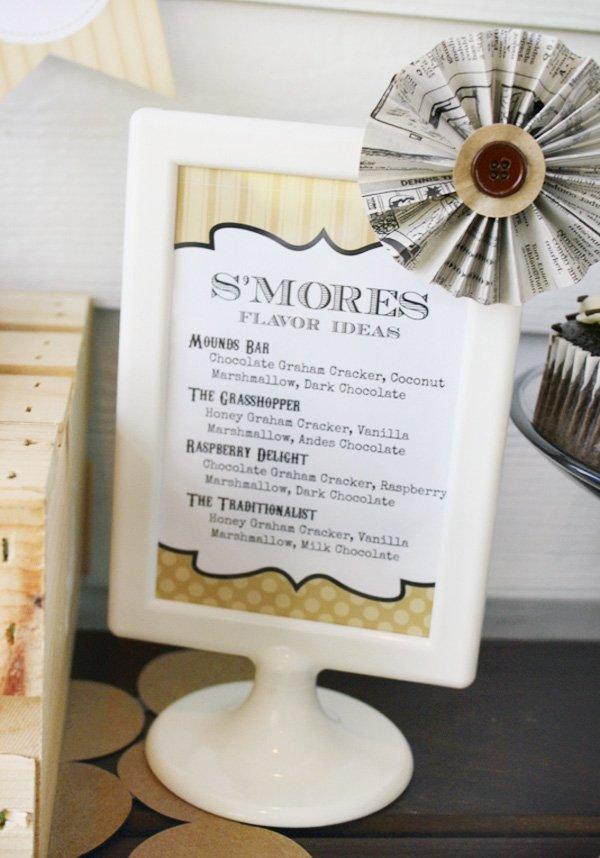 s'mores bar menu