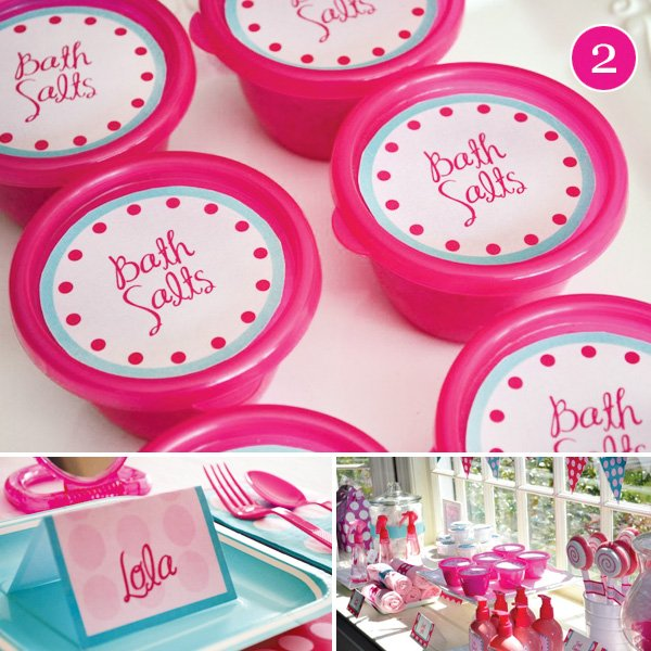 pink girls spa birthday party