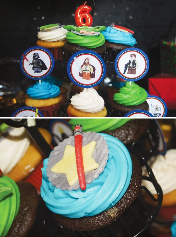 star wars lego party colorful cupcakes