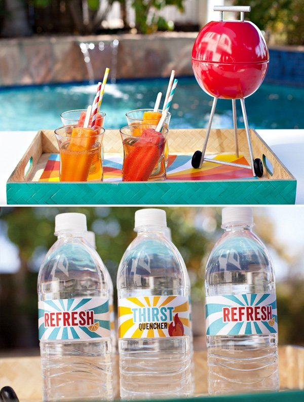 summer bbq party drinks with free water bottle labels