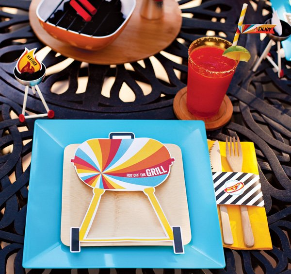 summer bbq party place settings and free printables