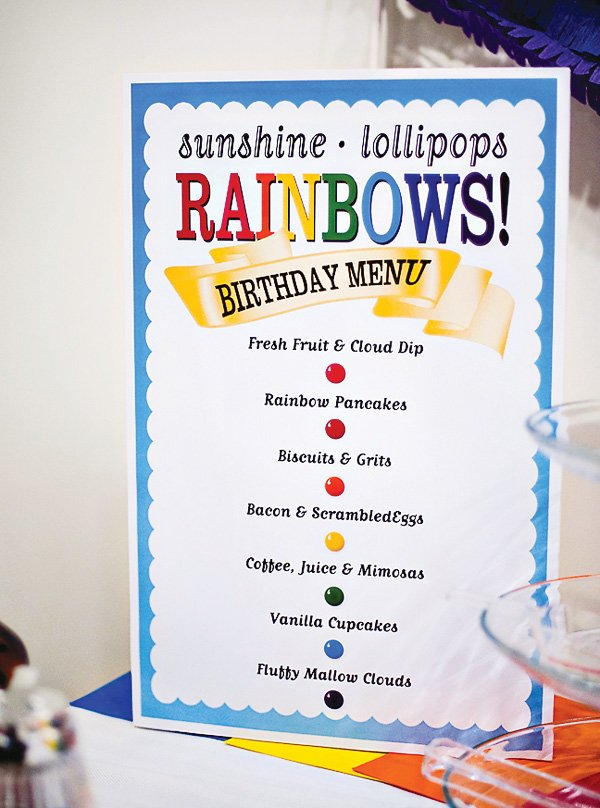 sunshine and candy menu in rainbow