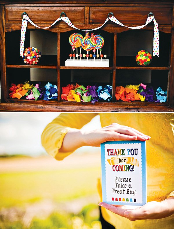 sunshine rainbows and lollipops birthday party idea