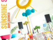 Sunshine Safari Baby Shower Table + Sunshine Yarn Centerpiece