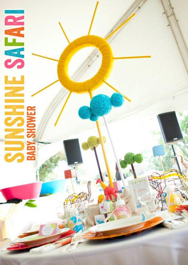 Sunshine Safari Baby Shower Table + Sunshine Yarn Centerpiece