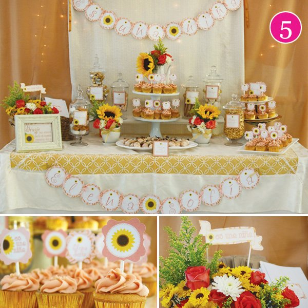 tuscany inspired dessert table for a girl's baby shower