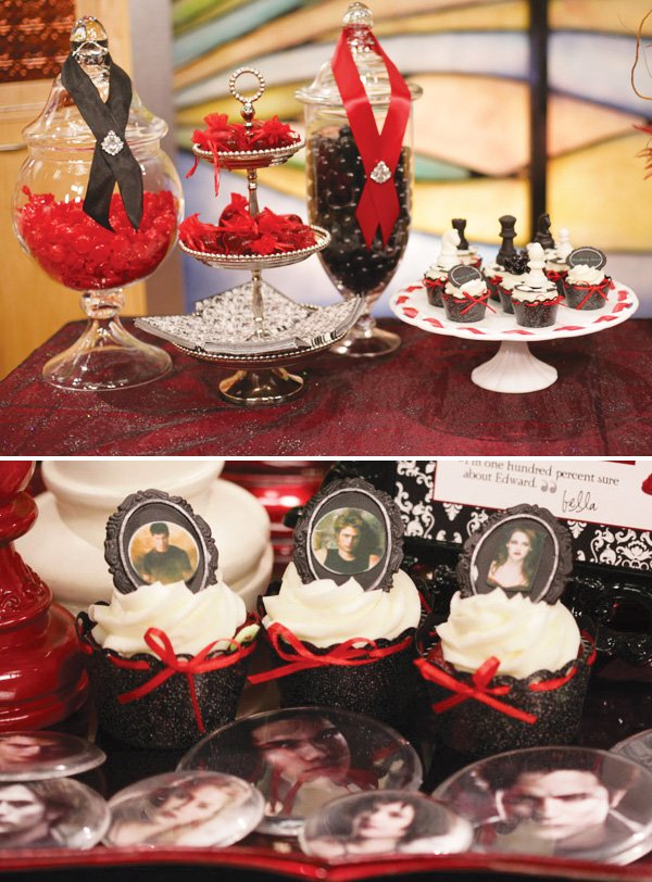 twilight breaking dawn red and black ribbons with cupcakes