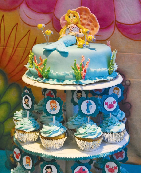 under the sea fondant mermaid topper
