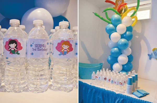 mermaid party water bottle labels