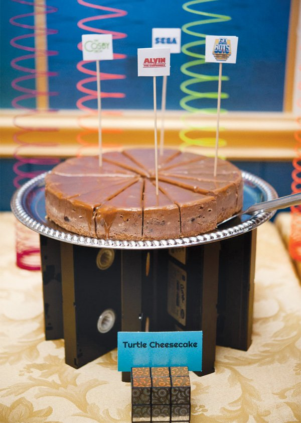 80s vhs cake stand for a 30th birthday party