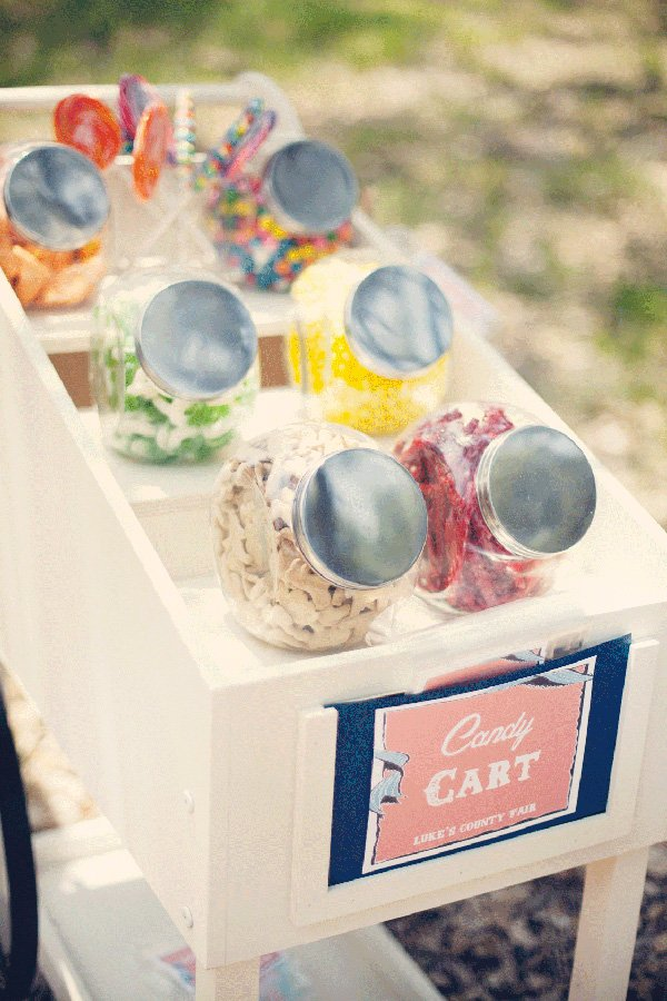 vintage county fair party candy cart