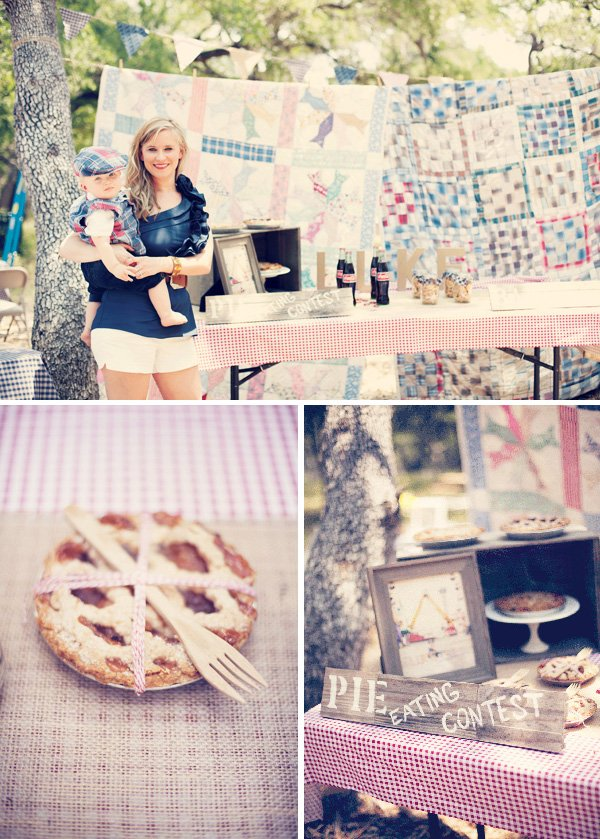 vintage county fair party quilt backdrop and pie eating contest