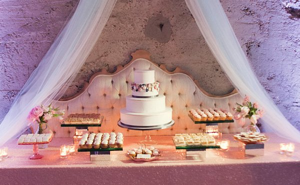 vintage glam wedding dessert table