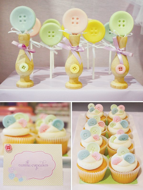 cute as a button vintage sewing party cupcakes