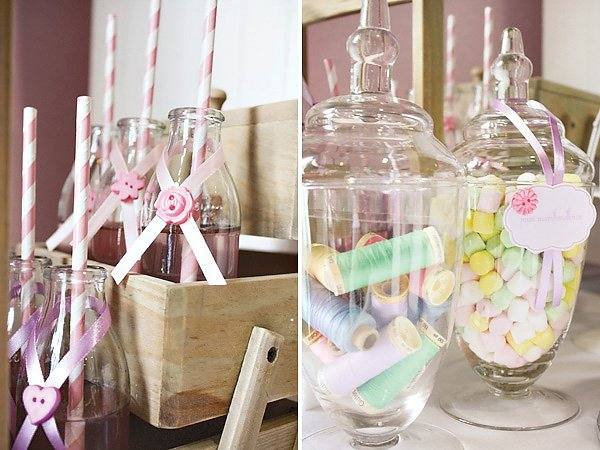 cute as a button vintage sewing party milk bottles