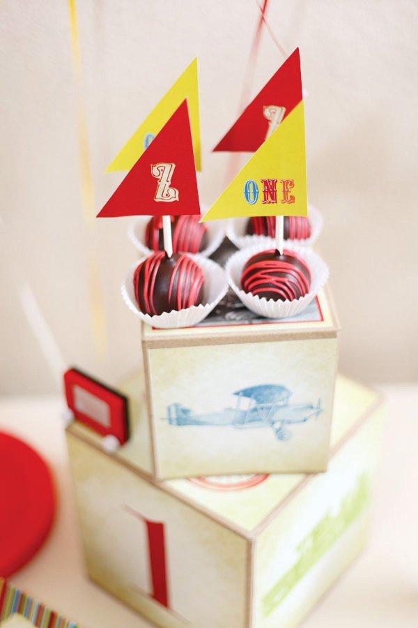 vintage toy first birthday cake pops