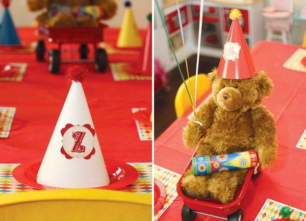 vintage toy first birthday kids table with a teddy bear centerpiece