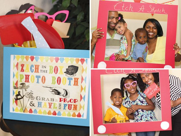 vintage toy first birthday with an etch a sketch photo booth