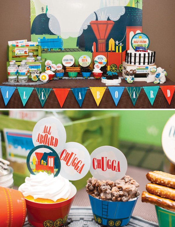 vintage train dessert table