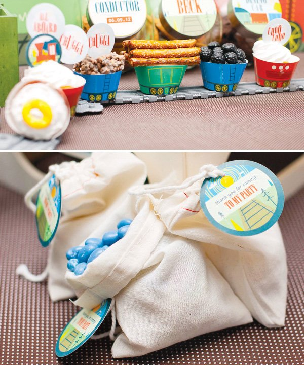 vintage train dessert table party favors