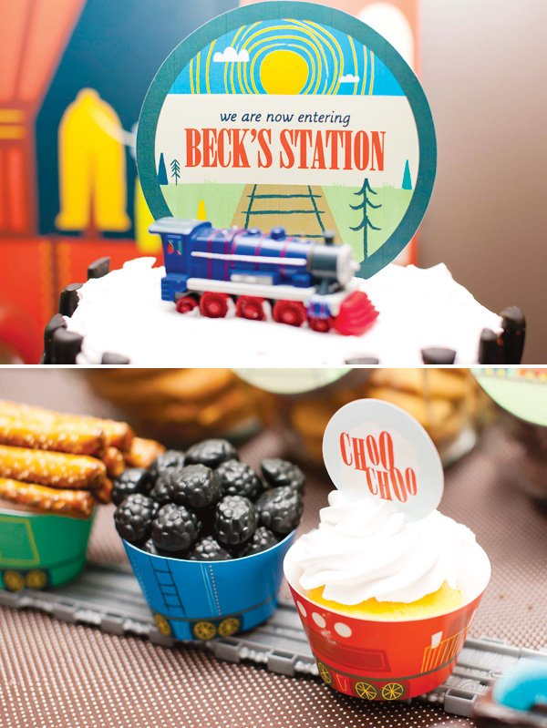 vintage train dessert table printables and cupcakes