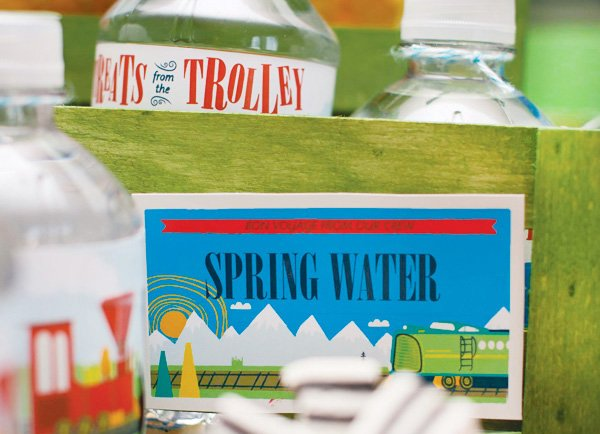 vintage train party water bottles